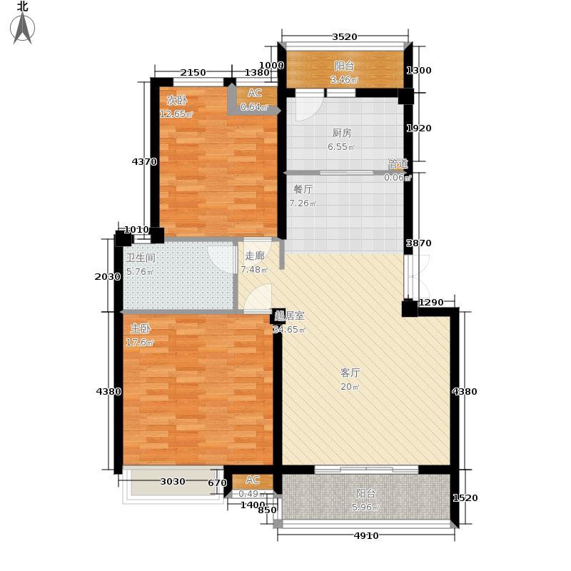 兴洲财富缘99.17㎡A户型 两室两厅一卫户型