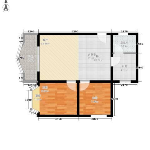 秋实小区2室0厅1卫1厨75.00㎡户型图