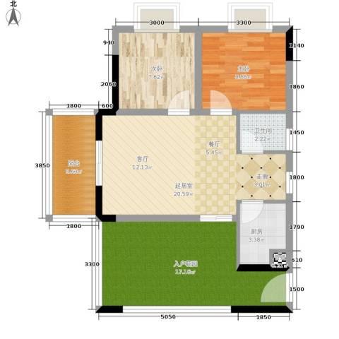 昌福盛景郦城2室0厅1卫1厨65.35㎡户型图