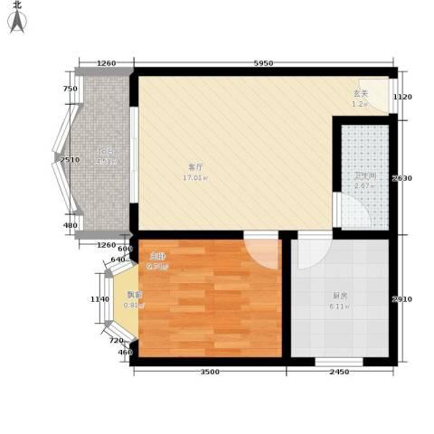 秋实小区1室1厅1卫1厨58.00㎡户型图