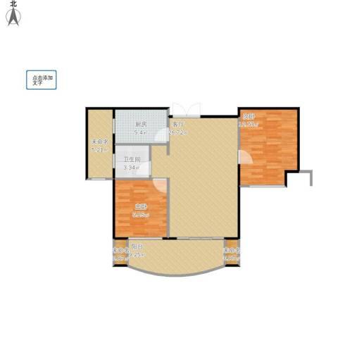 融侨华府2室1厅1卫1厨100.00㎡户型图