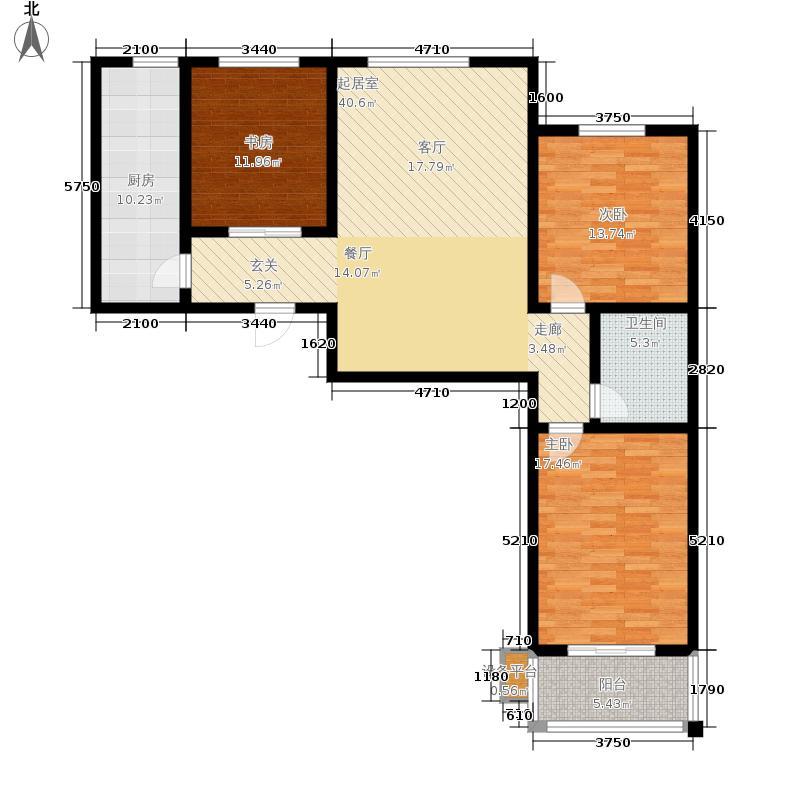 上起澜湾119.45㎡B1户型3室2厅