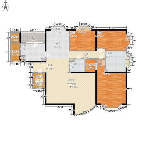 通用时代国际公寓3室0厅2卫1厨201.00㎡户型图