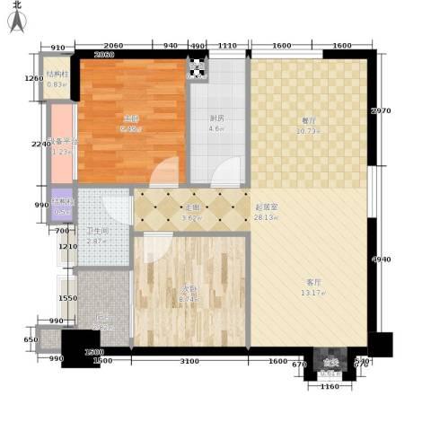 天福克拉广场2室0厅1卫1厨83.00㎡户型图