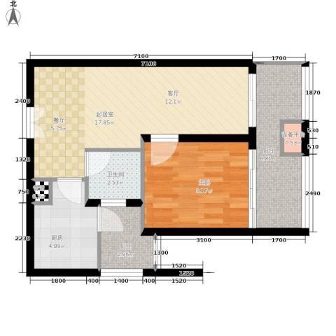 天福克拉广场1室0厅1卫1厨66.00㎡户型图