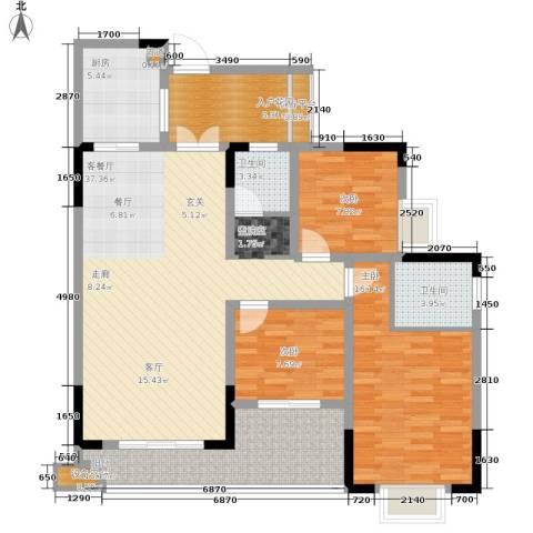 泰吉滨江二期岭澜3室1厅2卫1厨100.00㎡户型图