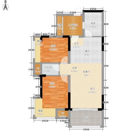 雍晟状元府邸2室1厅1卫1厨105.00㎡户型图