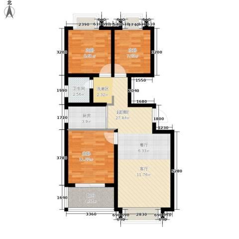 荣盛・阿尔卡迪亚3室0厅1卫1厨91.00㎡户型图