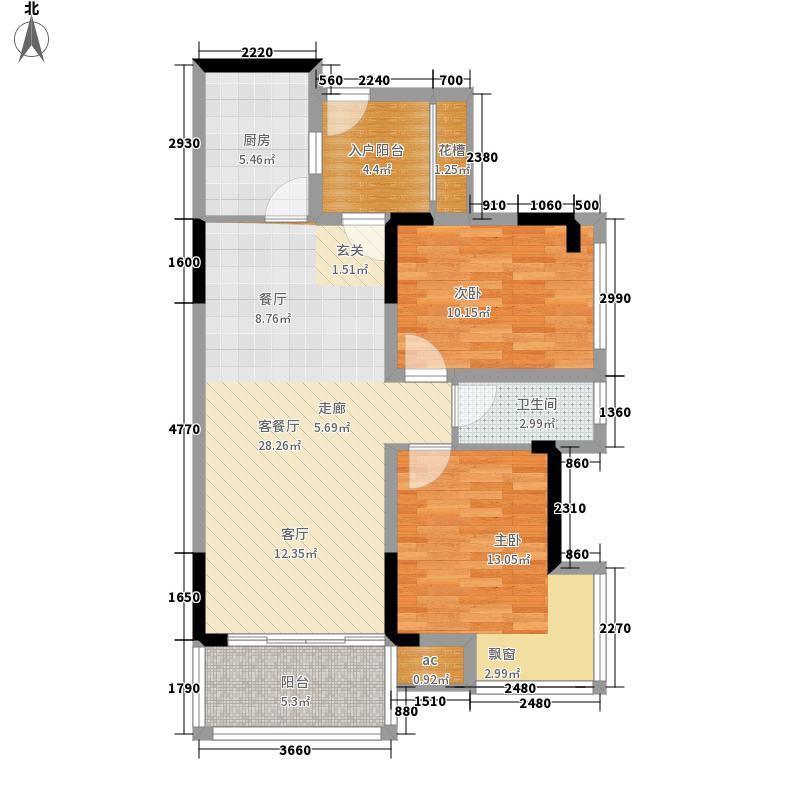 雍晟状元府邸两房两厅建筑面积约83.11平米户型