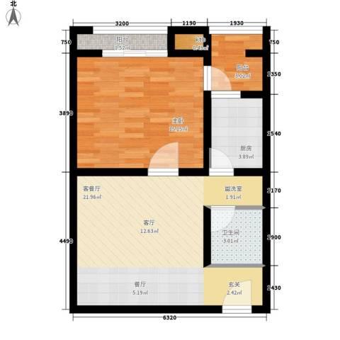 恒顺世纪中心1室1厅1卫1厨63.00㎡户型图