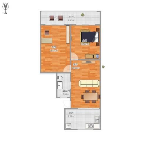 宝昌路847弄小区2室1厅1卫1厨87.00㎡户型图