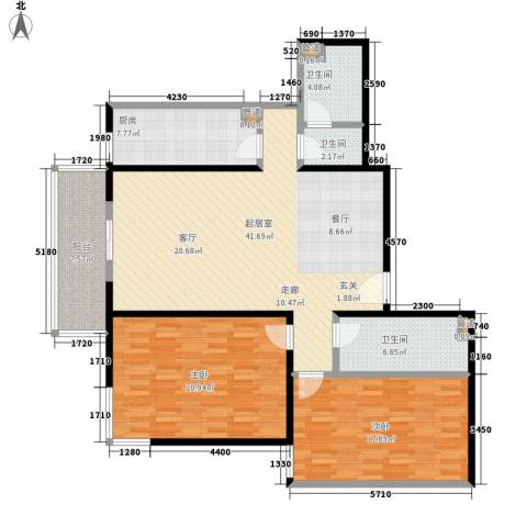 吉利家园2室0厅3卫1厨122.00㎡户型图