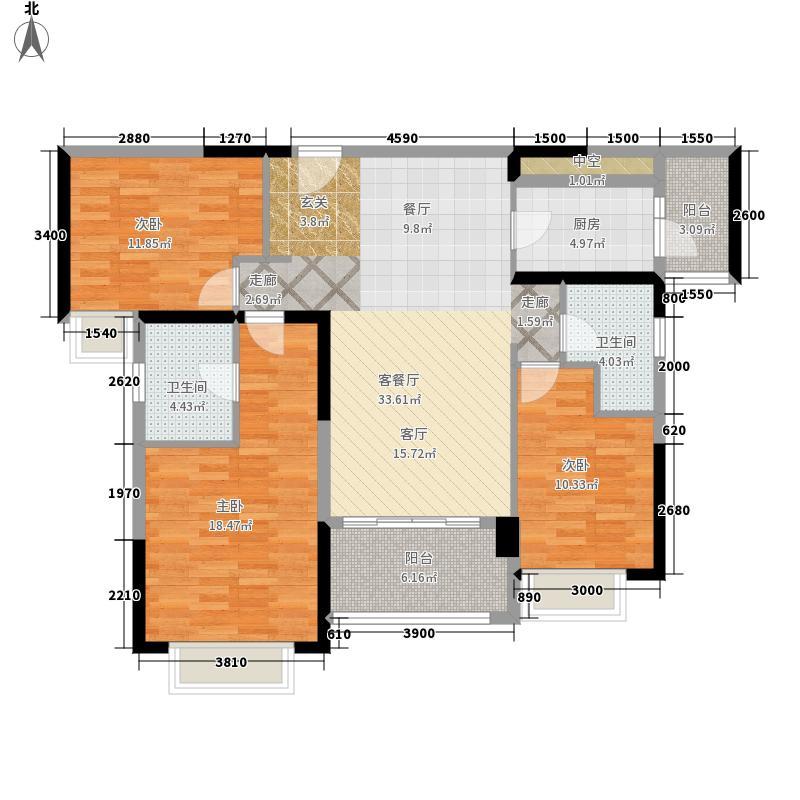 雅居乐十里花巷133.00㎡雅居乐十里花B巷户型3室2厅