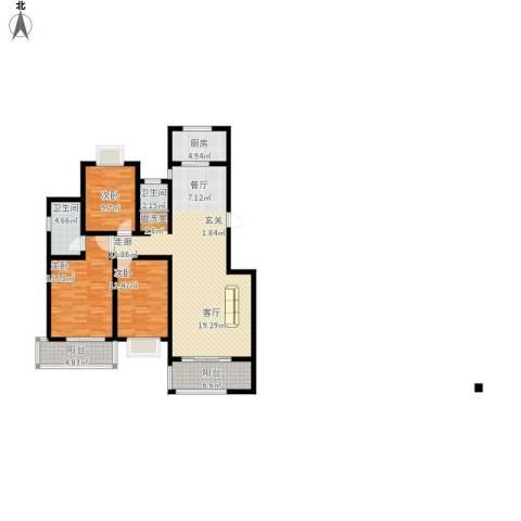 万达高尔夫花园3室1厅2卫1厨147.00㎡户型图
