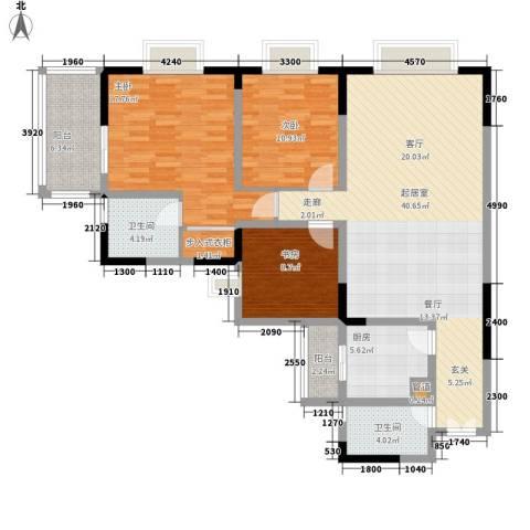 康德27度生活空间3室0厅2卫1厨111.00㎡户型图