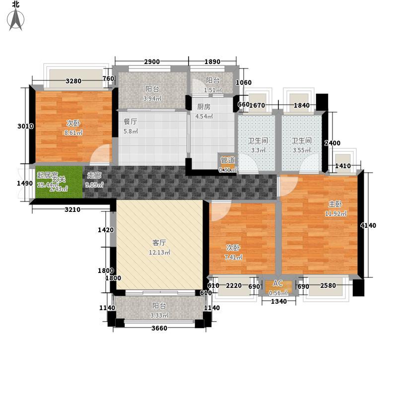 中洲中央公园(深圳)89.00㎡户型3室2厅