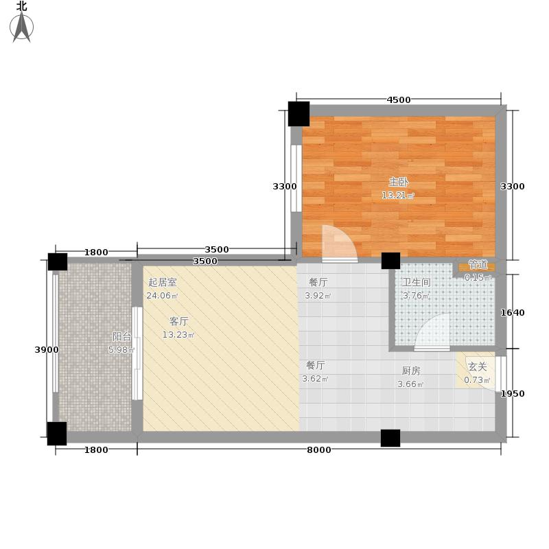 恒大棋子湾62.06㎡F户型1室2厅