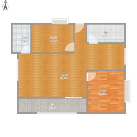 交大新村1室1厅1卫1厨77.77㎡户型图