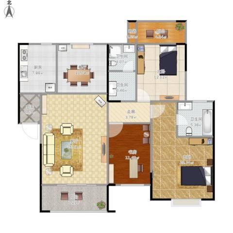 中天枫景3室2厅3卫1厨162.00㎡户型图