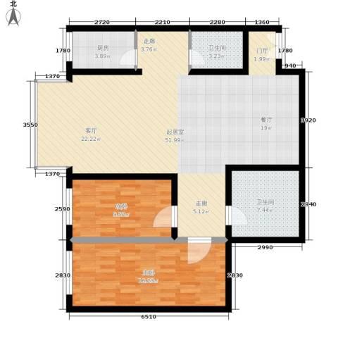 花园大厦2室0厅2卫1厨99.00㎡户型图
