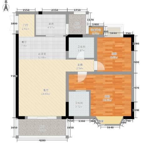 晋愉上江城2室0厅2卫1厨88.00㎡户型图