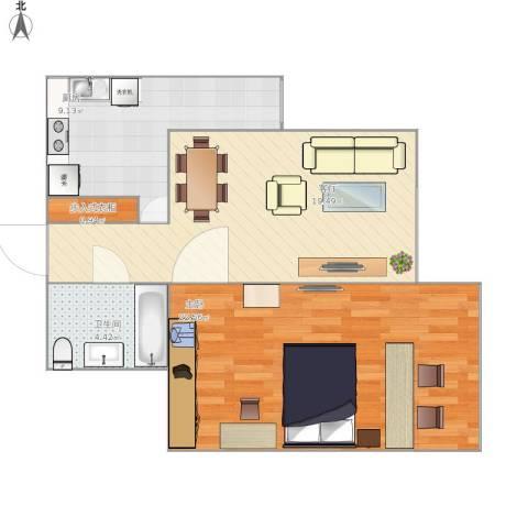 甘家口小区1室1厅1卫1厨72.00㎡户型图
