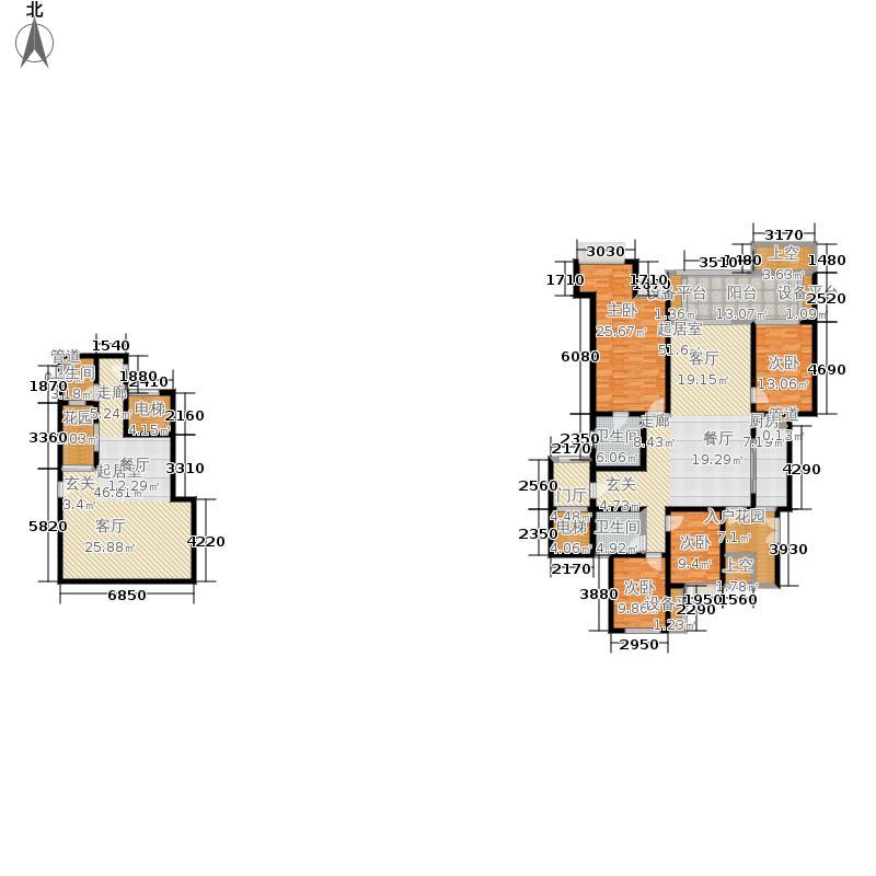 约克郡阅林156.00㎡一期12楼洋房跃层F1-6户型4室3厅