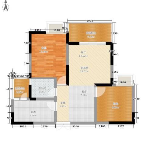 锦上华庭北区观苑1室0厅1卫1厨76.00㎡户型图