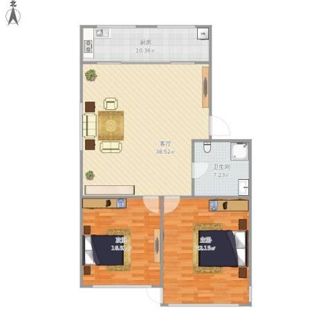金盛家园2室1厅1卫1厨125.00㎡户型图