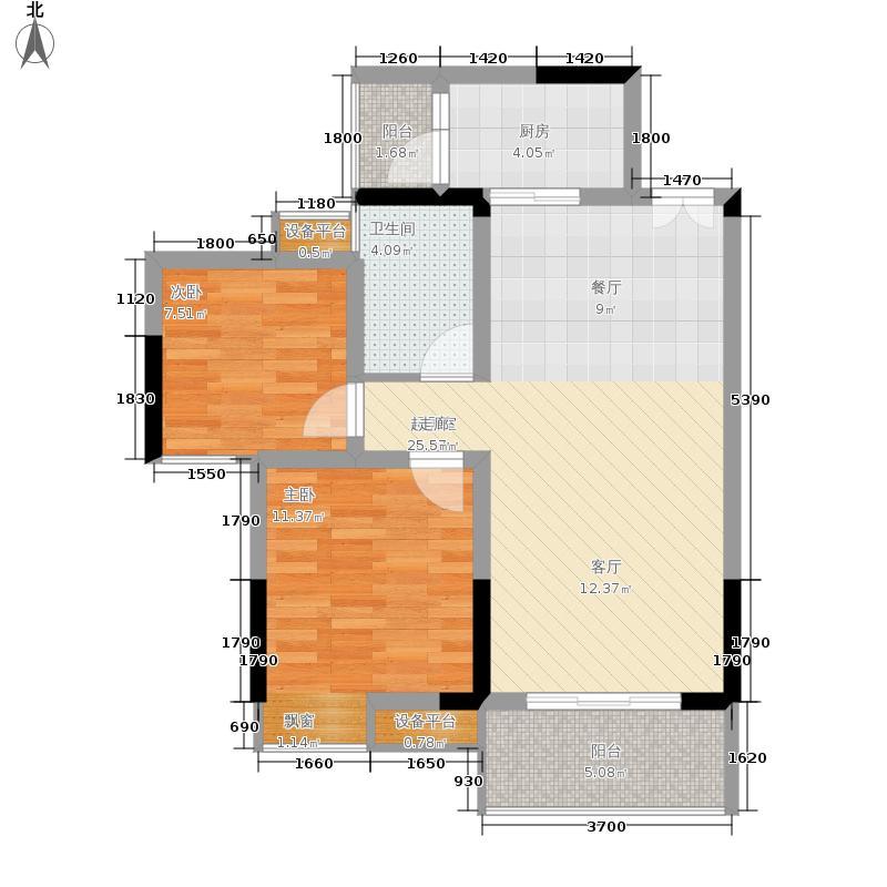 金科10年城65.44㎡4C1号楼面积6544m户型