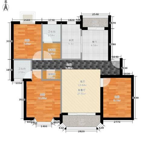 大庆村石油小区3室1厅2卫1厨83.00㎡户型图