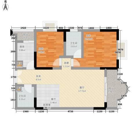 康德27度生活空间2室0厅2卫1厨81.00㎡户型图