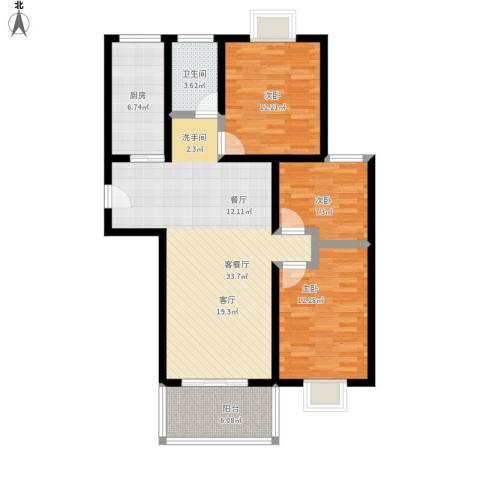 盛祥佳苑3室1厅1卫1厨118.00㎡户型图