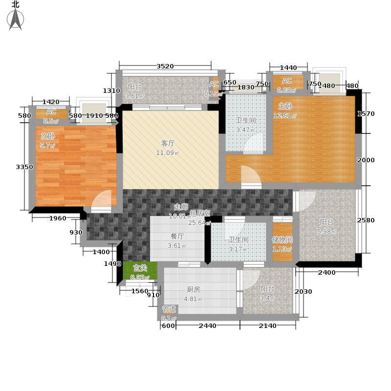 风花树100.41㎡8、9号楼4号房户型2室2厅