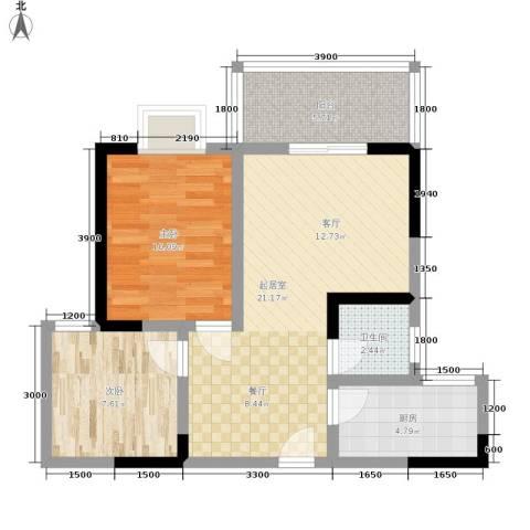 昌福盛景郦城2室0厅1卫1厨73.00㎡户型图