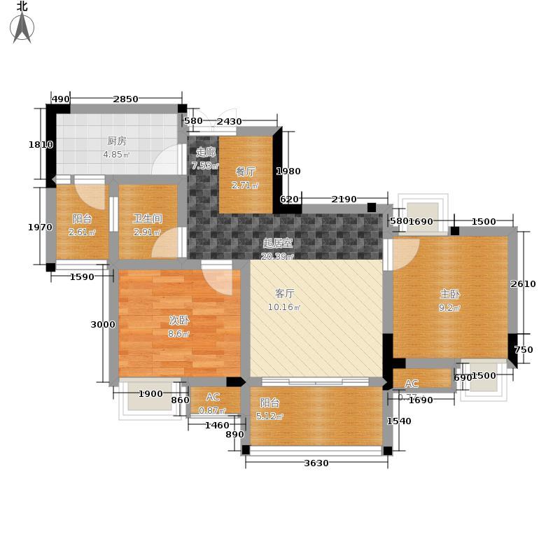 风花树73.45㎡8、9号楼2号房户型2室2厅