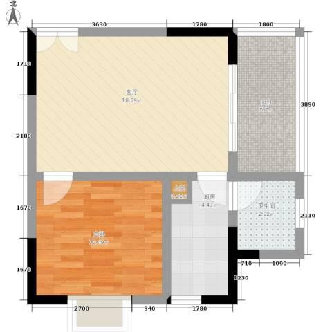 康德27度生活空间1室1厅1卫1厨46.00㎡户型图