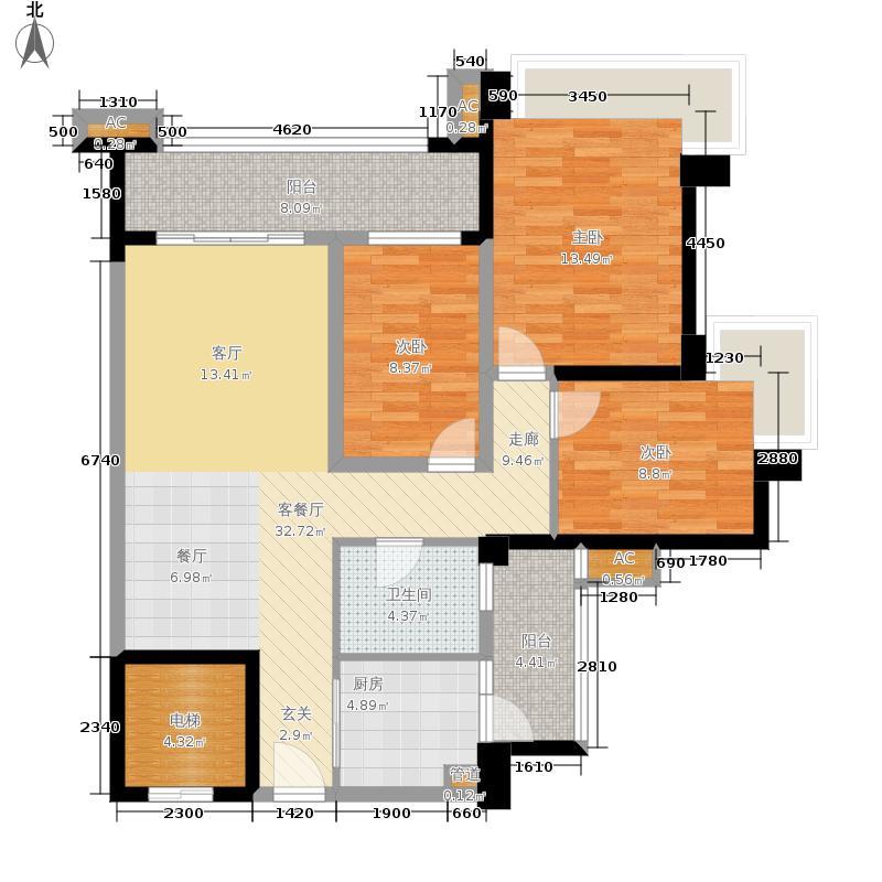 雅居乐清水湾101.33㎡蔚蓝高尔夫组团EA2洋房户型3室2厅