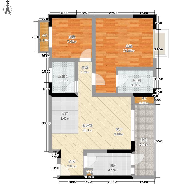 一城龙洲74.42㎡5、11号楼G面积7442m户型