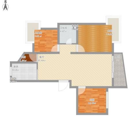 金碧汇虹苑4室1厅1卫1厨122.00㎡户型图
