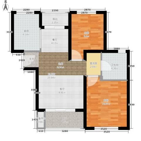 金硕河畔景园2室0厅1卫1厨72.00㎡户型图