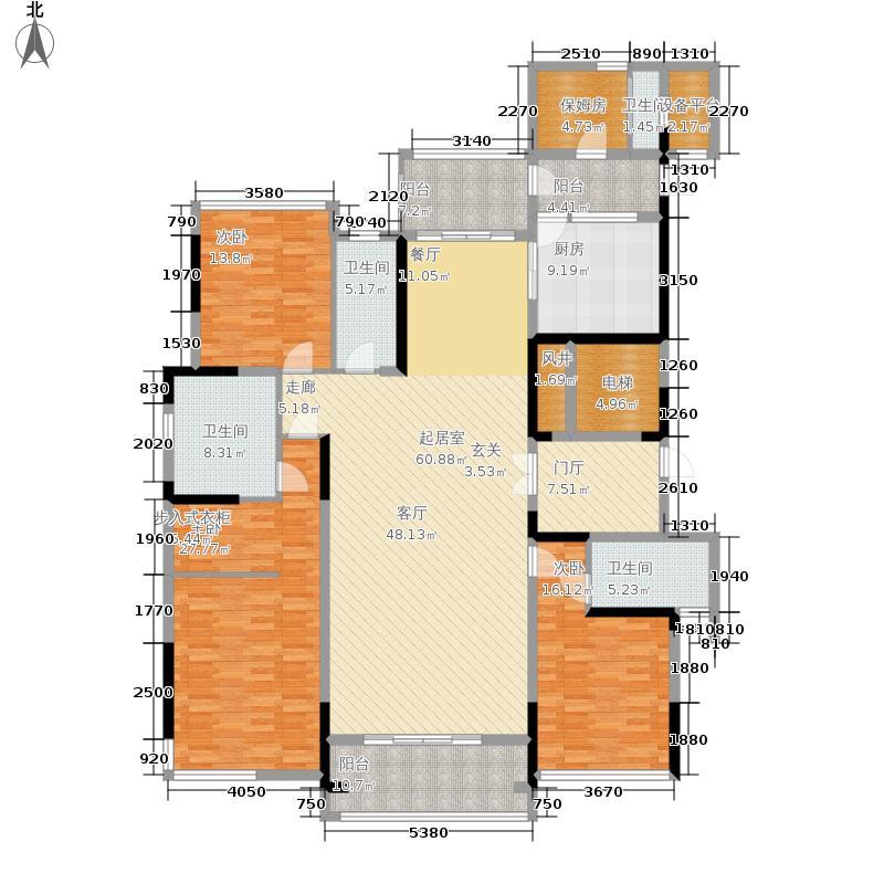 云星·钱隆首府198.00㎡8号楼-1单元01户型4室2厅