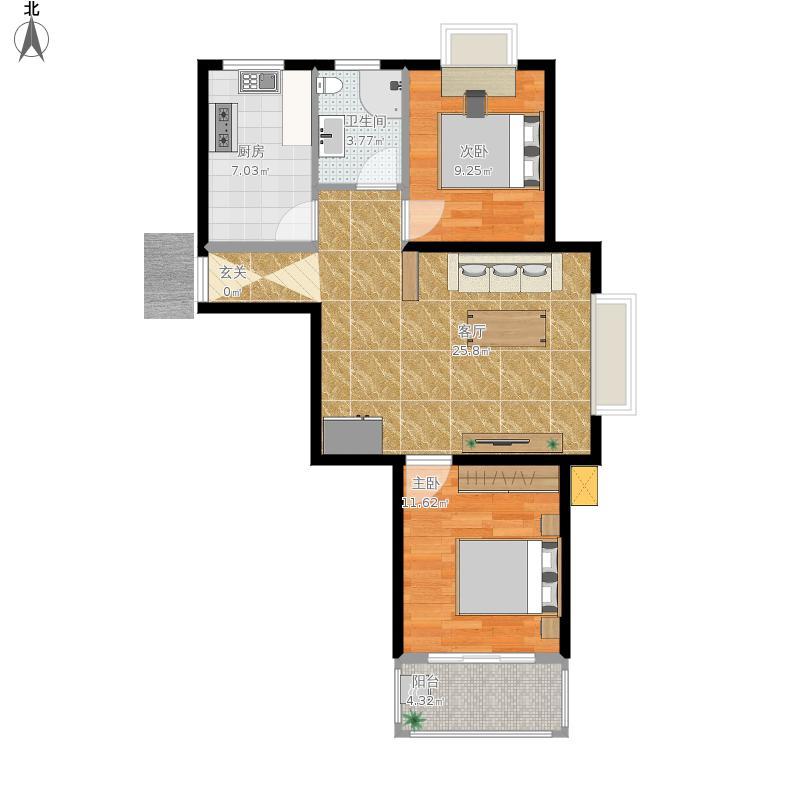 88平A户型两厅两室
