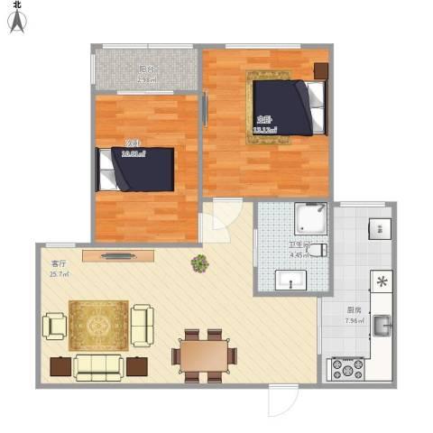 海珍苑2室1厅1卫1厨87.00㎡户型图