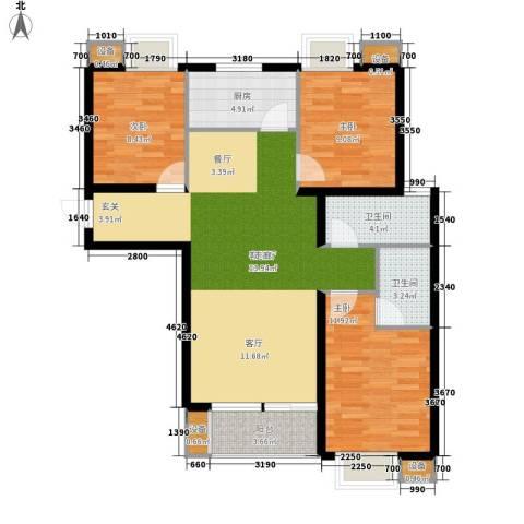 湾仔城3室1厅2卫1厨120.00㎡户型图