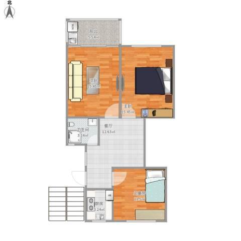 芳华路268弄小区3室1厅1卫1厨90.00㎡户型图