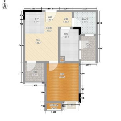 天王星铂晶城1室0厅1卫1厨39.00㎡户型图