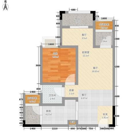 天王星铂晶城1室0厅1卫1厨46.00㎡户型图