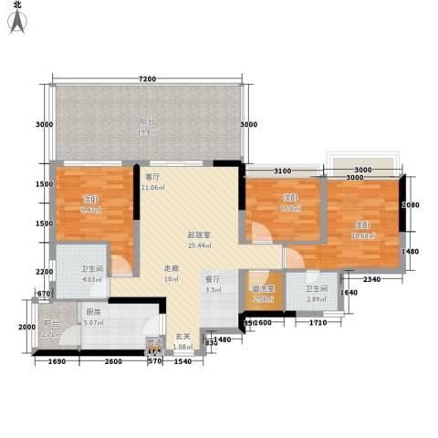 佳禾钰茂香港城3室0厅2卫1厨127.00㎡户型图