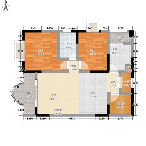 康德27度生活空间2室0厅1卫1厨79.00㎡户型图